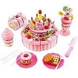 Smibie Fun DIY Birthday Cake Pretend Play Food Toy Set Triple Layer Light