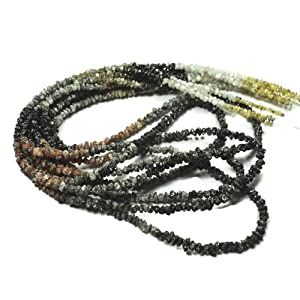 16 Inch Strand Raw Rough Uncut Conflict Free Diamond, 1.5mm To 3mm Beads,