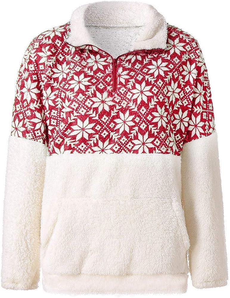 Trolimons Women Sweatshirt Christmas Printed Patchwork Fluffy Stand Thermal Pocket Jumper Outwear Winter Warm Loose