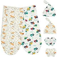 Baby Swaddle filtar wrap med nyfödda bomullskeps vantar för 0-6 månader unisex, paket med 2 swaddles sovsäckar + 2…