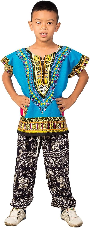 Lofbaz Ni/ños Tradicional de impresi/ón de /África Camisa Dashiki Unisex