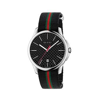 Horloge Gucci Homme ya126321 au quartz (Batterie) acier Quandrante Noir Bracelet  Tissu
