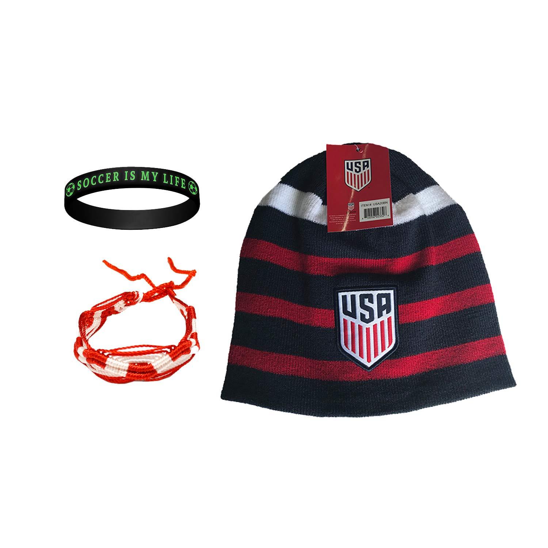 ICON SPORTS USサッカー ビーニー スカル キャップ 帽子 チーム USA USMNT + ブレスレット2個セット 3個入り USA006 3  B07L544DKC