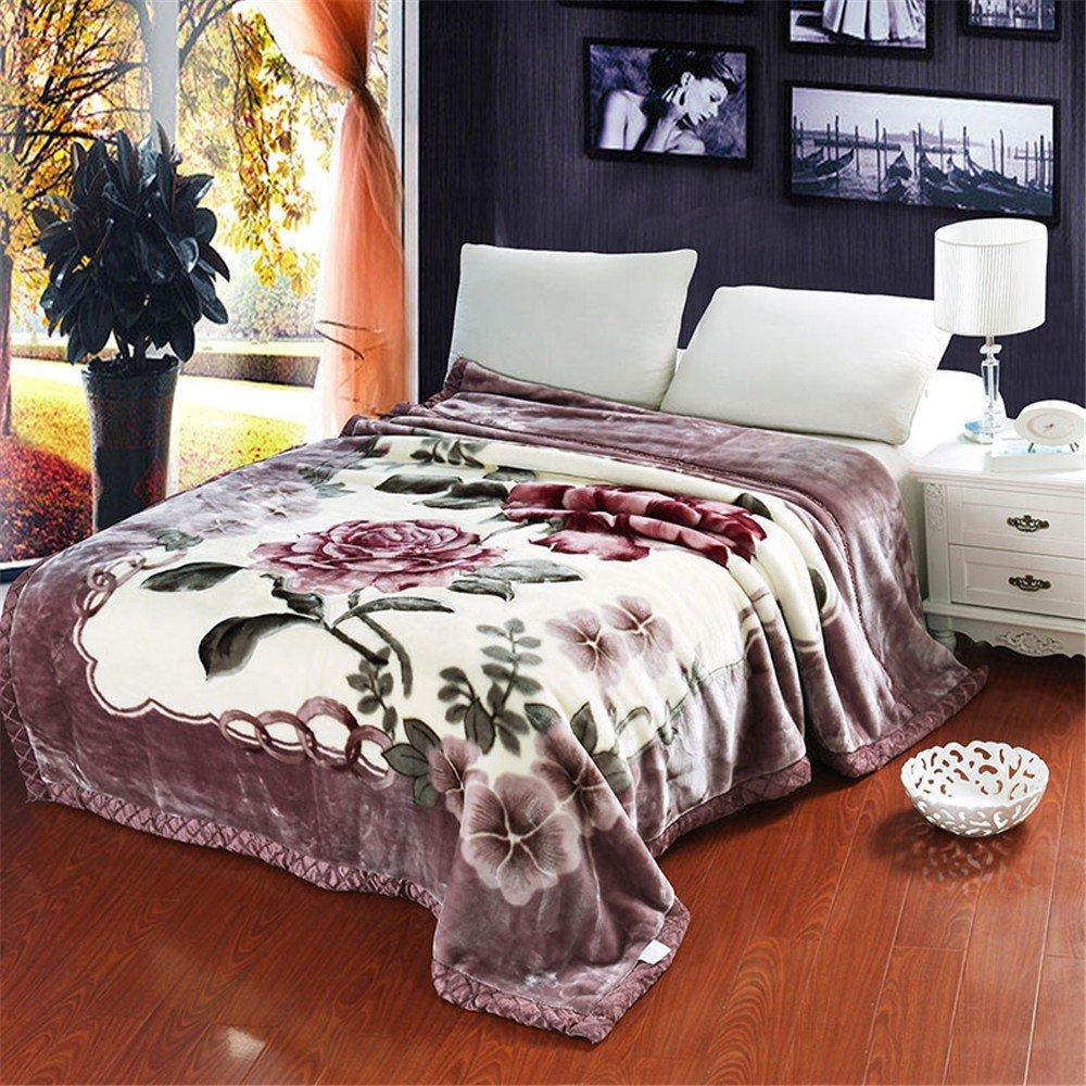 Double-Layer Thicker Winter Korallen samt Hochzeit Student Doppel Sofa Raschel Leisure Blanket,200x240cm 10