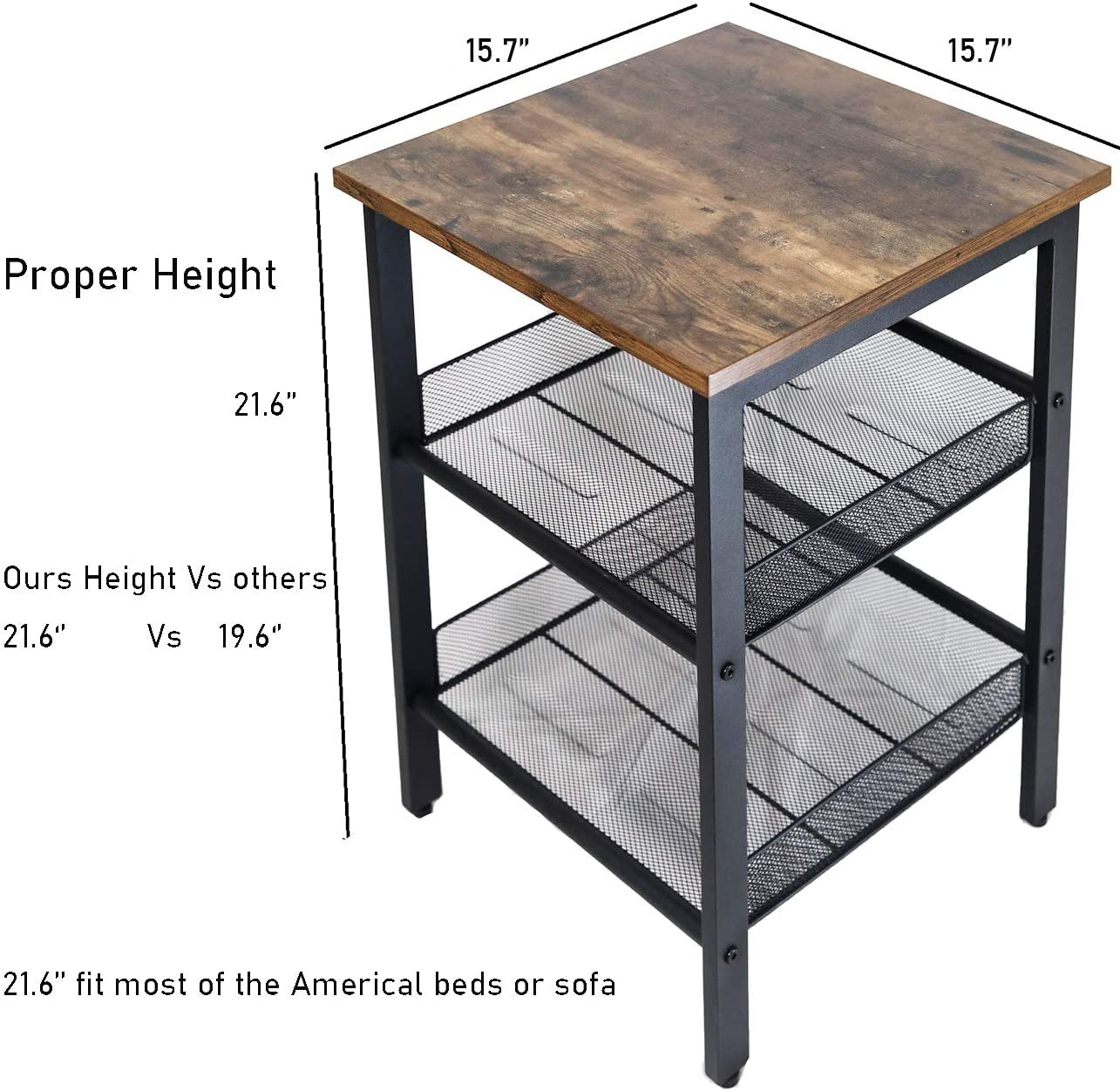 JPNTOYE End Table Set of 2 Living Room, Industrial Nightstand Table Bedroom with Mesh Shelves, 21.6 Inch Rustic Side Table, Wood Look Accent Furniture for Home Decor, Vintage Brown US Warehouse