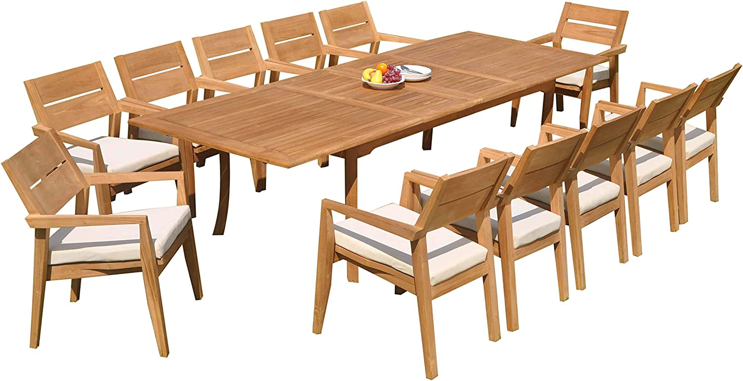"13 PC A Grade Outdoor Patio Teak Dining Furniture Set - 117"" Double Extension Rectangle Table & 12 Cellore Stacking Arm Chairs"