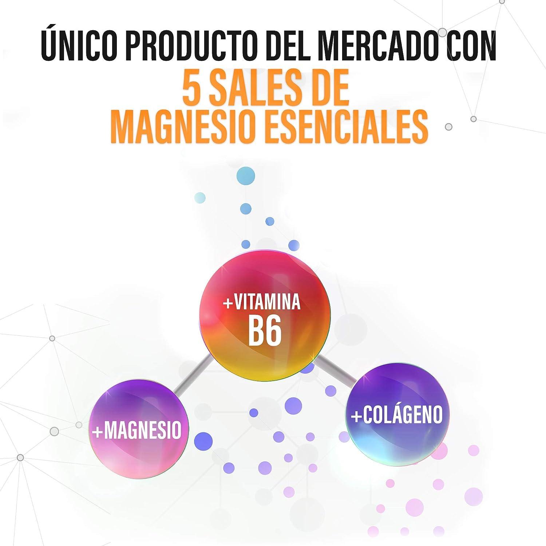 Magnesio Puro + Colágeno + Vitamina B6 | Elimina los Dolores Musculares y La Fatiga | 5 Sales de Magnesio Puras y Bioasimiladas | Optimiza tu Sistema ...