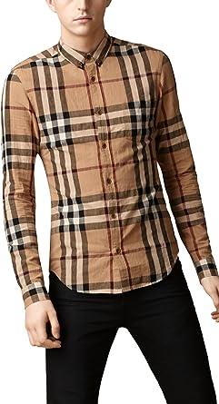 Burberry Brit disparado Check Hombre Lino botón Down Camisa: Amazon.es: Ropa y accesorios