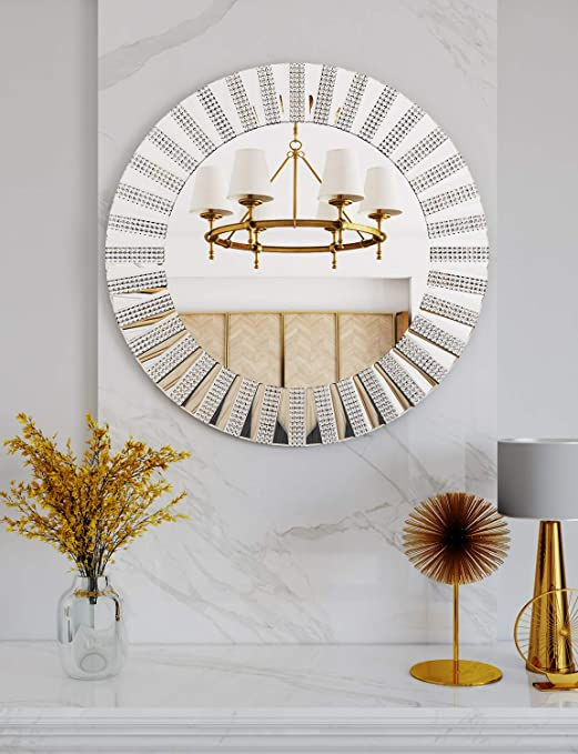 Amazon Com Chic Round Decorative Wall Mirror 31 5 X 31 5 Mirrored Wall Decor Mirror Round For Decor Fireplace Bedroom Livingroom Furniture Decor