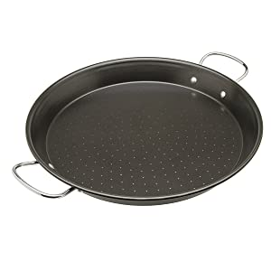 "Ecolution Sol Paella Pan – Eco-Friendly PFOA Free Hydrolon Non-Stick – Heavy Duty Carbon steel with Riveted Chrome Plated Handles – Dishwasher Safe – Limited – Black– 15"" Diameter"