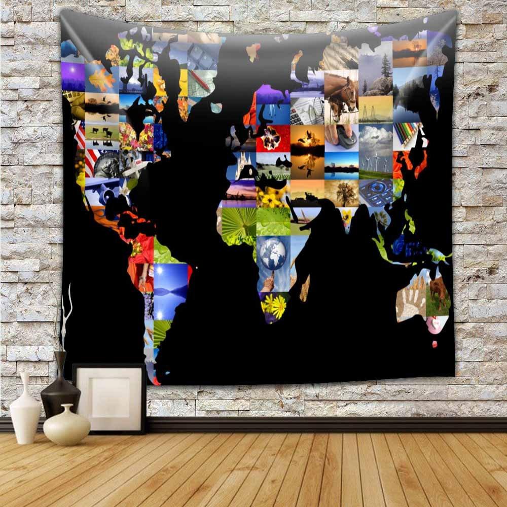 Earth Tones Decor Collection - Arazzo raffigurante l'antica mappa del mondo del 1800, stampa geografica e storica, per camera da letto, soggiorno, stanza dei ragazzi, da appendere al muro, Poliestere e misto poliestere, #1, 59x71 inch Chengsan