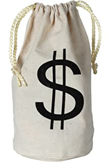 13c75f853853 Amazon.com  Large Dollar Sign Canvas Drawstring Money Bag ...
