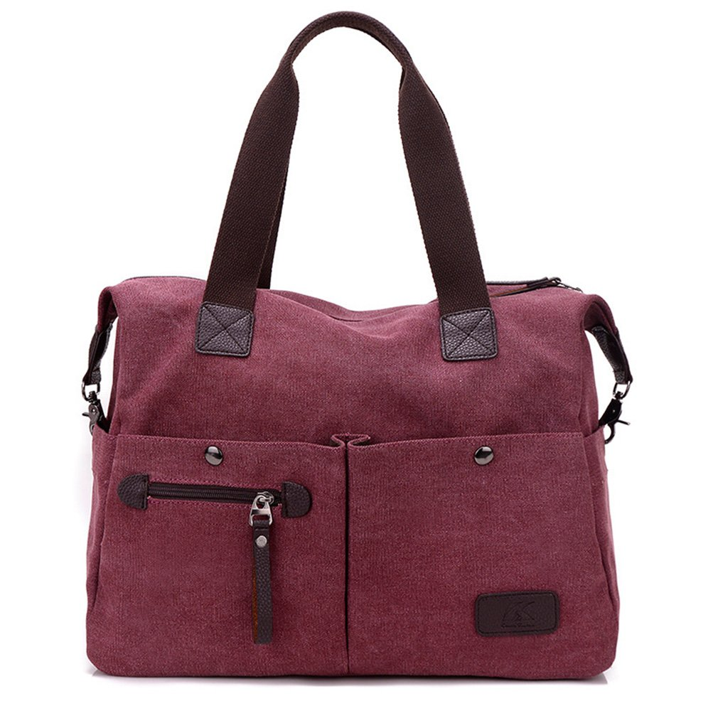 Lonson Unisex Canvas Shoulder Bag Big Travel Handbag Weekend Tote Bag (Wine Red)