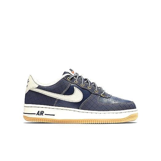 Nike Youth Air Force 1 Premium Shoes-Obsidian/LGT Bn-Gum-4.5