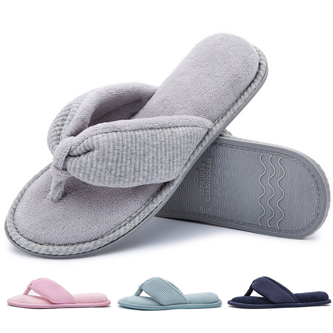 RockDove Women's Memory Foam House Spa Thong Slippers(9-10 B(M) US,Grey)