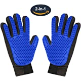 Pet Grooming Glove,Gentle Deshedding Brush Glove Hair Remover Brush for Dogs,Cats with Long & Short Fur,Enhanced Five Finger Design -One Pair Left & Right