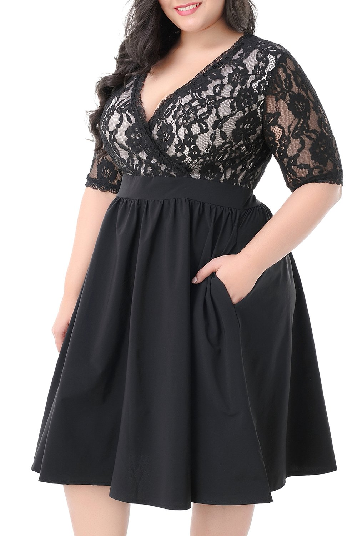 Nemidor Women's Half Sleeves V-Neckline Lace Top Plus Size Cocktail Party Swing Dress (Black, 24W)