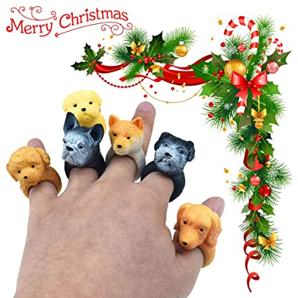 LtrottedJ Shari Pi Dog Hand Puppets Role Play Realistic Dog Head Ring Head Finger Soft Toy