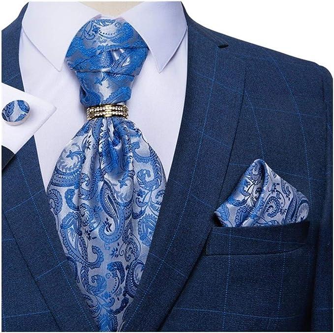 Sky Blue Cravat Ascot Tie Scarf Beige White Yellow Wedding Silk as29 FREE HANKY