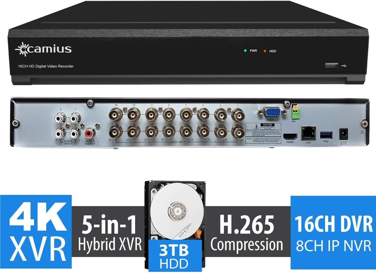 Camius UHD 4K 24 Channel Security DVR NVR with 3TB Hard Drive, 16CH Analog 8CH ONVIF IP up to 8MP Video, 4K HDMI, H.265, PC Mac Software, Phone app – TRIVAULT4K2168 Cameras Not Included