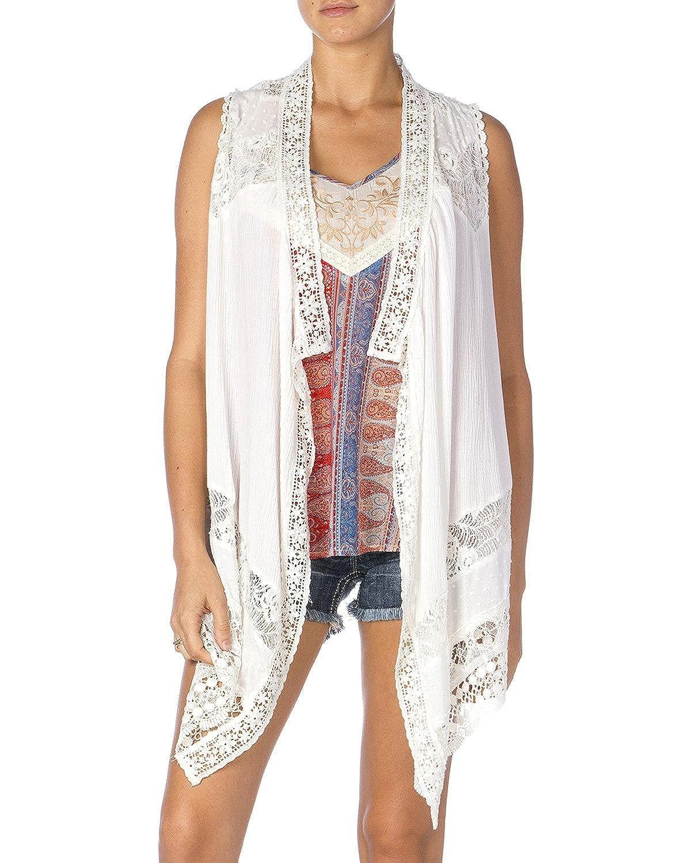 Miss Me Women's White Lace Vest - Mdj131t