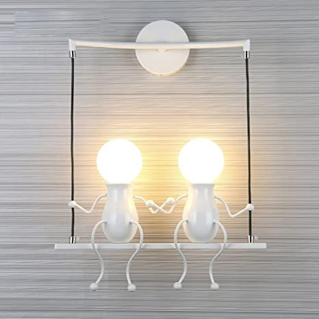 FSTH Simple Fashion Doll Swing Niños Lámpara de Pared Moderna Sala de estar Dormitorio Creativo Cabecero de Pared Luz de Vacaciones / Regalo de Boda ...
