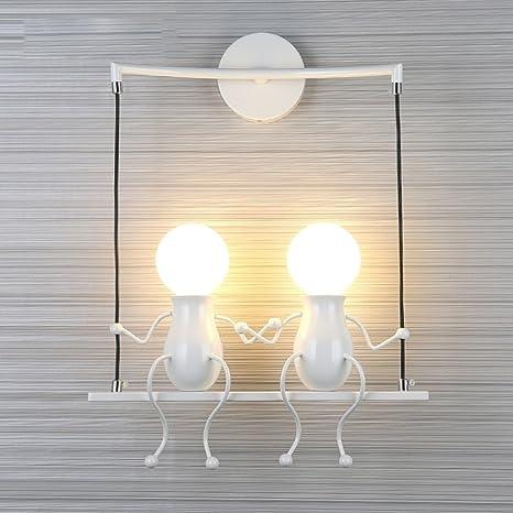 FSTH Simple Fashion Doll Swing Niños Lámpara de Pared Moderna Sala de estar Dormitorio Creativo Cabecero de Pared Luz de Vacaciones / Regalo de Boda ...