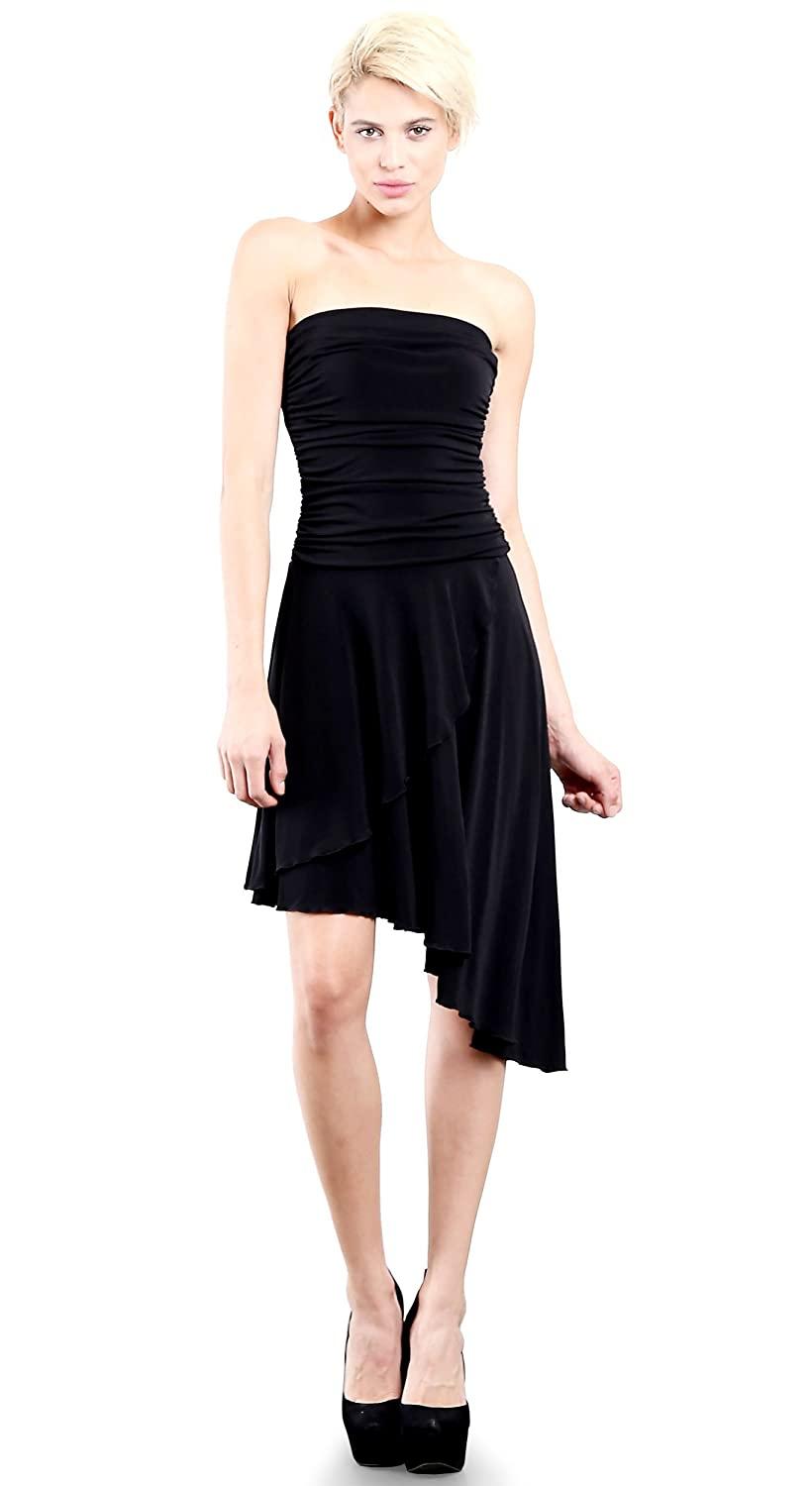 8b2f32caa6 EVANESE Women s Cocktail Party Strapless Tube Dress With Asymmetrical Skirt  M