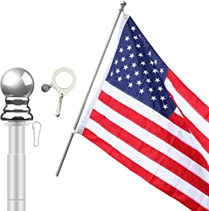 LAVIEVERT American Flag Includes 5ft Heavy Duty Aluminum Alloy Telescopic Anti-Winding Flag Pole Flagpole for Residential or Commercial