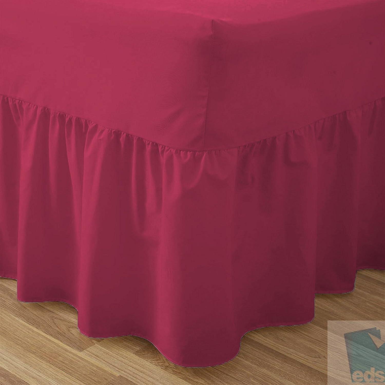 Spannbetttuch mit Volant, Perkal, Polycotton, einfarbig, bügelfrei, rose, 1 Paar Kissen bügelfrei