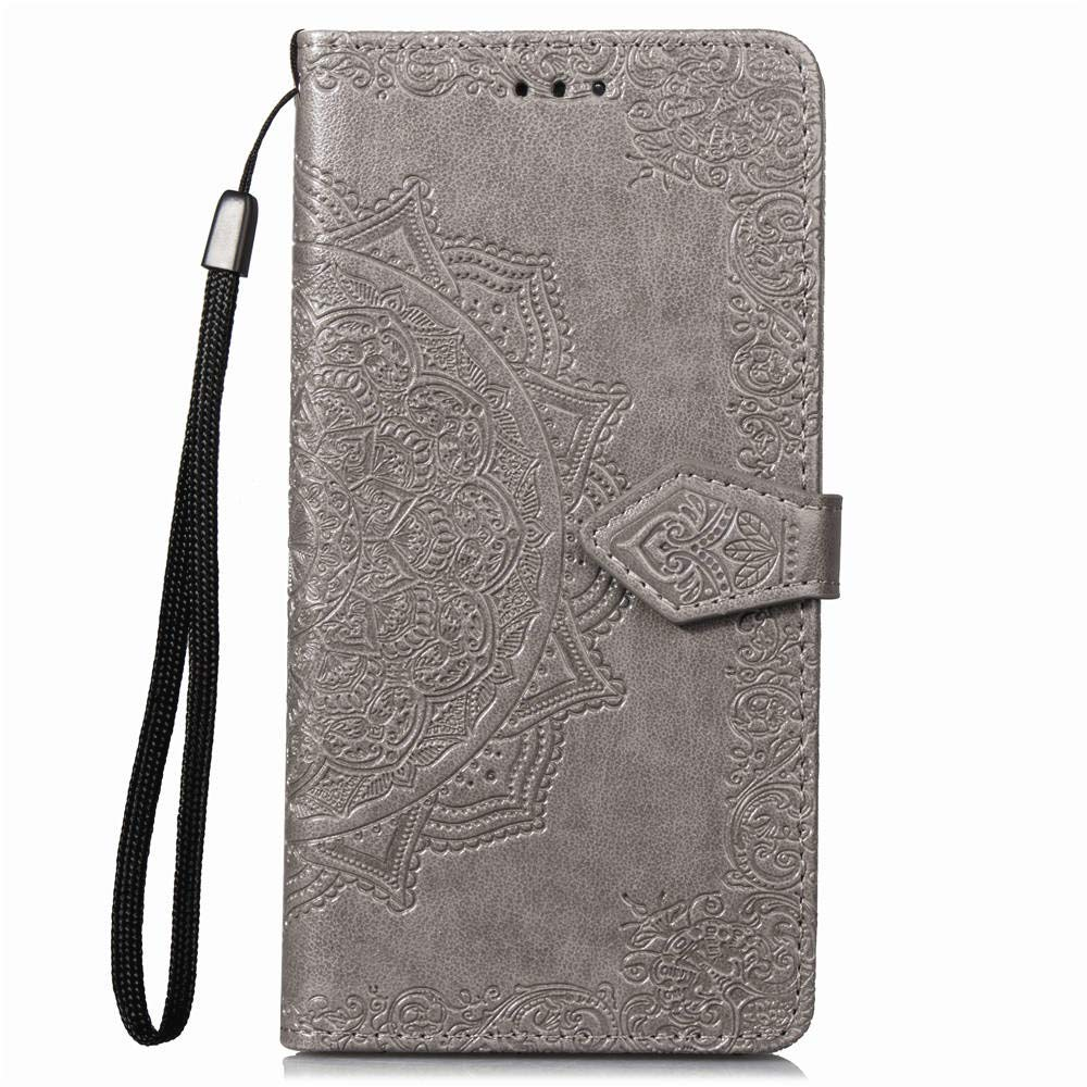 Samsung A6 2018 Case,Galaxy A6 2018 Case,PU Leather Wallet Embossed Floral Mandala Flowers Case with Kickstand Flip Cover Card Holder for Samsung Galaxy A6 2018 Gray
