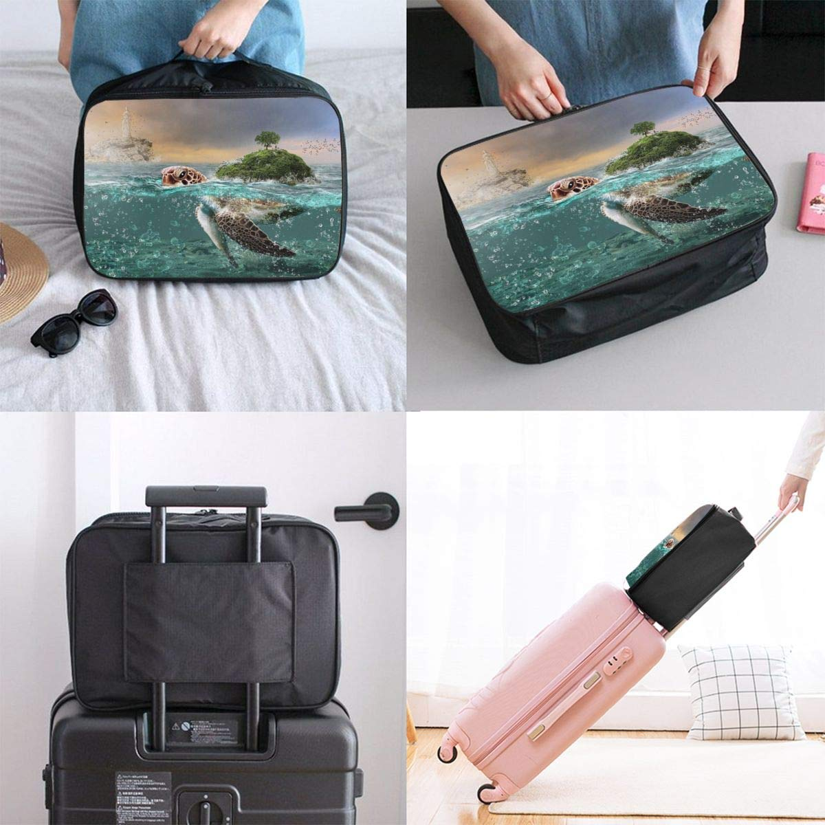 Tortoise Island Woman Statue Travel Lightweight Waterproof Folding Storage Portable Luggage Duffle Tote Bag Large Capacity In Trolley Handle Bags 6x11x15 Inch