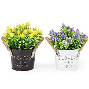 MIXROSE Artificial Plastic Mini Plants Fake Flower in Metal Pot for Home Décor Purple and Yellow – Set of 2