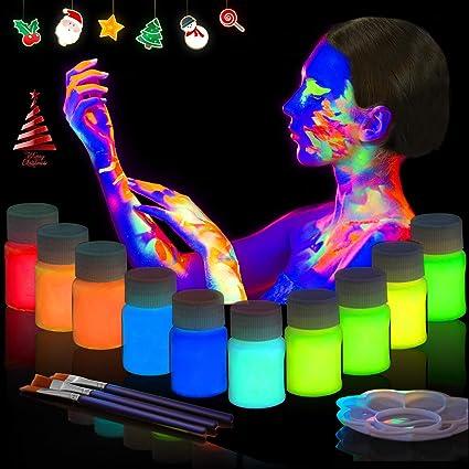 BEAU-PRO Maquillaje Fluorescente Pintura Corporal y Facial - UV Glow, Neón 10 x 20 ml Colores Luz Fosforescente con 3 pinceles y 1 paleta para Niños y ...
