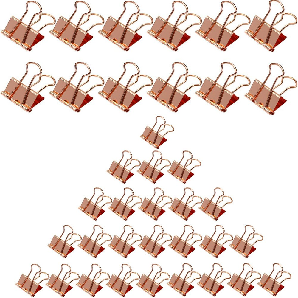 Gaerudite Binder Clips,Rose Gold Anti-Rust Steel Binder Clips for Office Work, Archive Work, Document Organizing Medium and Large Size 3/4 inch(25 pcs),1inch(12 pcs),Rose Gold