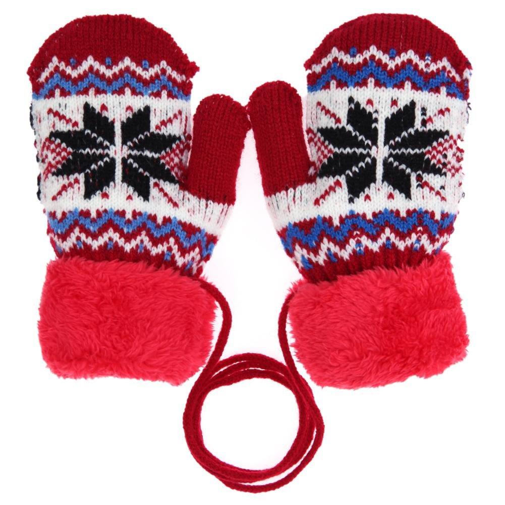Hikfly Mignon Knit Moufles Mitaines Gants pour Bébé Filles Garçons Warmer  Mittens Cadeau De Noël  d40cb46a279