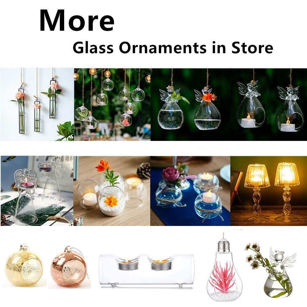 Wedding Party Tree Decoration Mini Glass Terrarium Globes for Home Decor Hanging Tealight Candle Hoder 20 Pcs Mini Glass LED Tealight Holder 2.36 Inches Diameter