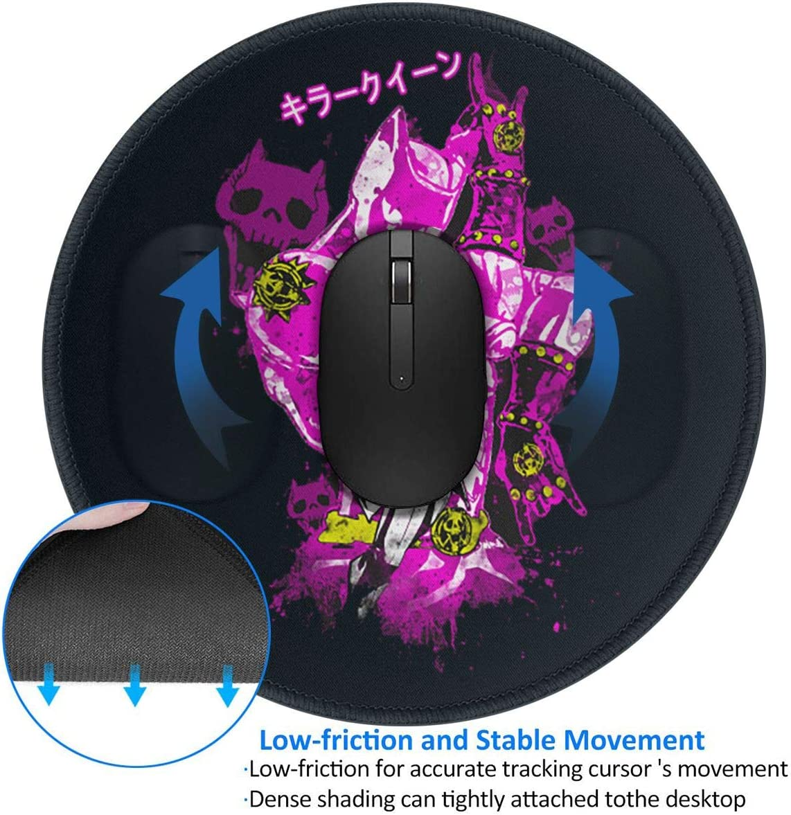 JoJos Bizarre Adventure Round Mouse Mat with Designs Natural Rubber Round Mouse Pad Mousepad Gaming Mouse Pad
