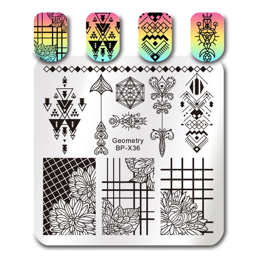 Born Pretty Square Nail Art Stamp Template Daisy Floral Image Plate BP-X38