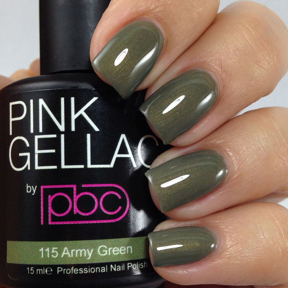Amazon.com : Pink Gellac #115 Army Green Soak-Off UV / LED Gel ...