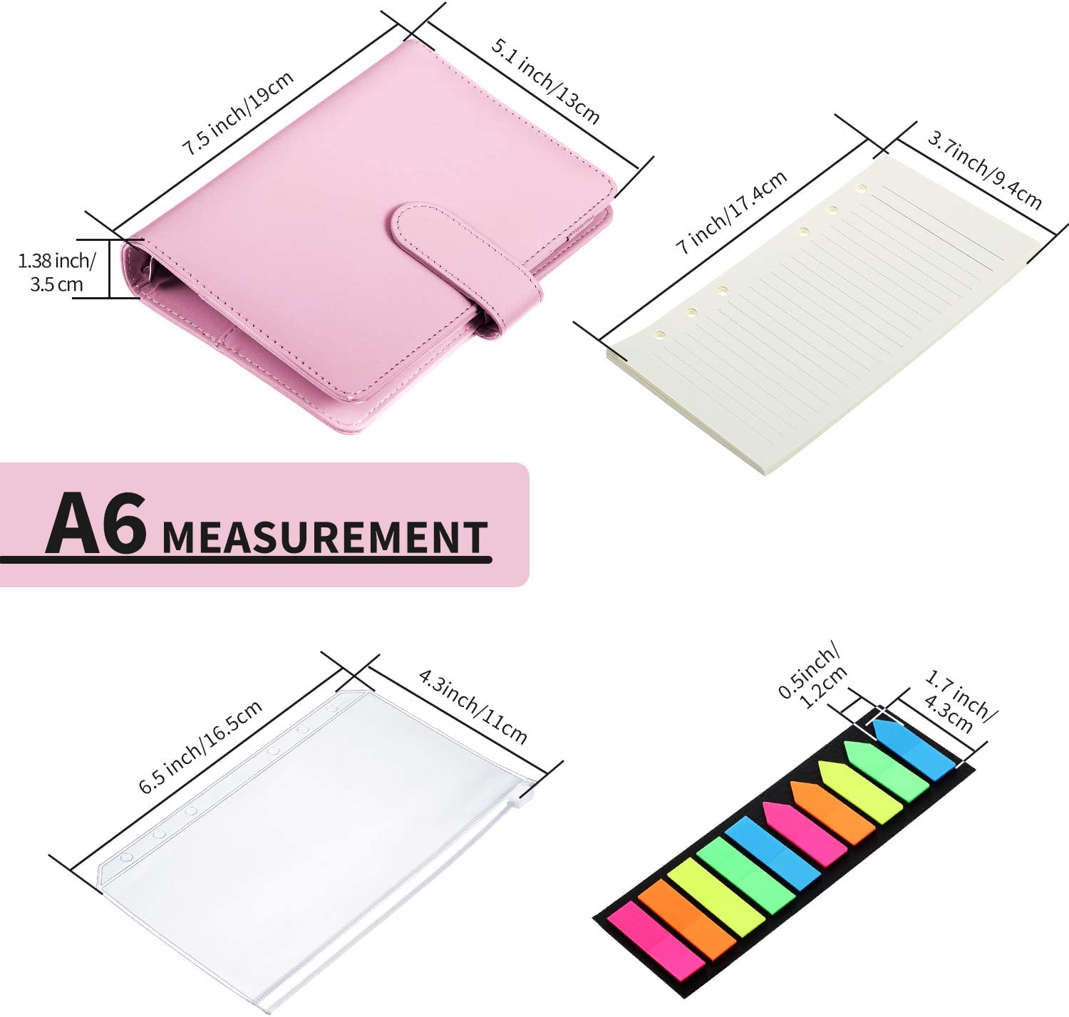 A6 PU Leather Notebook Binder Magnetic 6 Round Ring Binder Cover ...