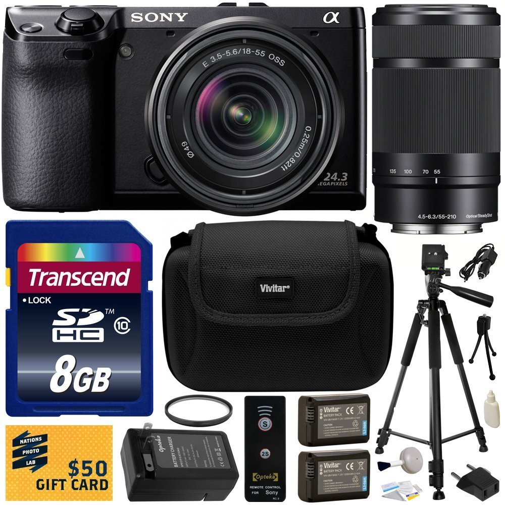 Sony NEX-7 NEX7 NEX7K 24.3 MP Compact Interchangeable Lens Camera with 18-55mm Lens & Sony E 55-210mm F4.5-6.3 OSS Lens for Sony E-Mount Cameras with Beginner Accessories Bundle Kit includes 8GB Class 10 SDHC Memory Card + x2 Replacement (1200mAh) NP-FW50