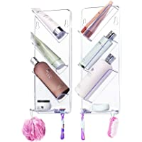ShowerGem Shower Caddy, No Suction Cups or Screws, Rust Proof, Easy-Clean, Neat & Tidy Place for Everything, Twin Pack