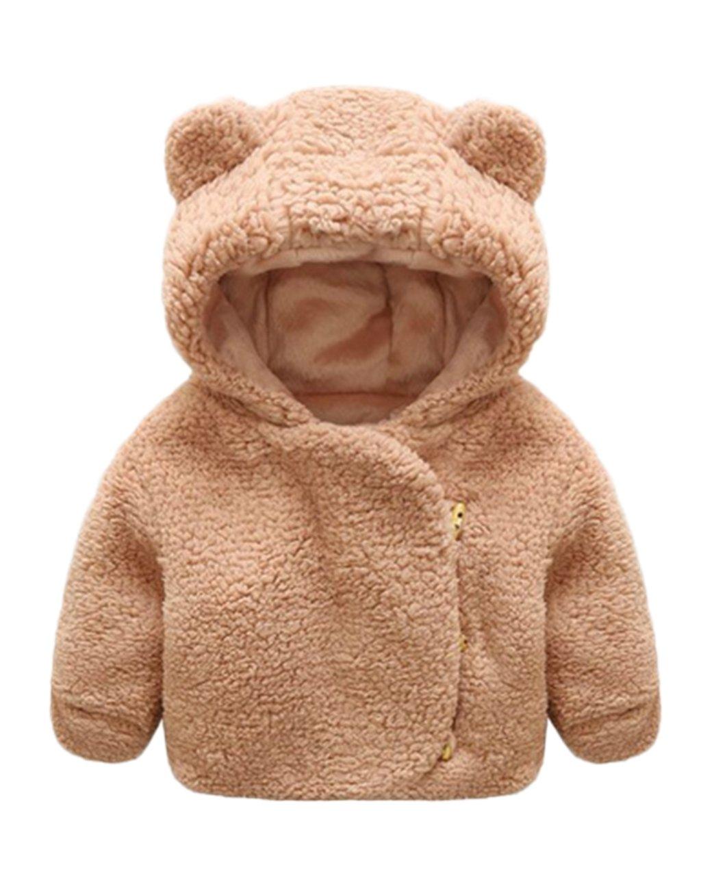 Infant Baby Boys Girls Cartoon Bear Animal Hooded Fleece Jacket Winter Warm Coat FAYALEQ FA1041