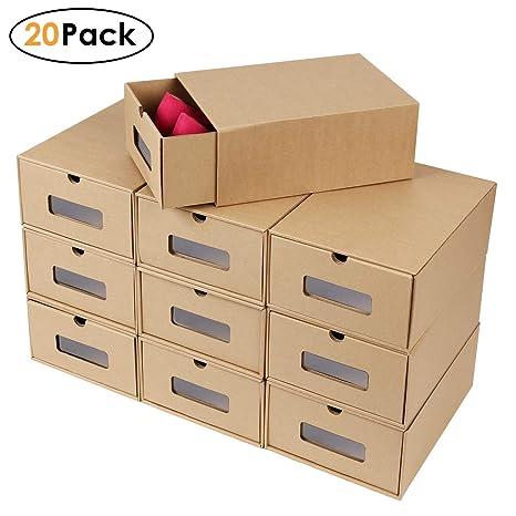 femor 10/20 Cajas de Zapatos Zapatero Cajón Transparente Plegable Apilable Caja Guardar Zapatos Hechas