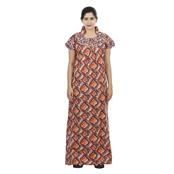 OSF Brown Colour Checks Design Printed Collar Neck Cotton Nighty for Ladies  Nightwear Full Length Women Night Gown Short Sleeves (Free Size)  Amazon.in   ... 1443bf0f8