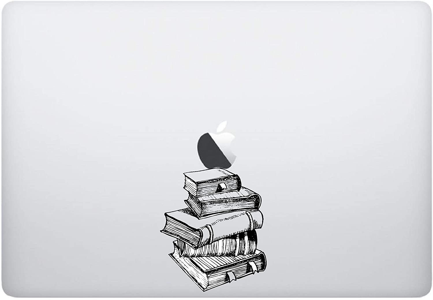 Laptop Sticker - Stack of Books Underneath - Matte Black Skins Stickers