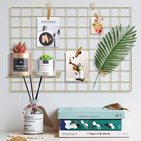 Amazon Com Pulatree Wire Wall Grid 1 Pack Panel Grid Photo Wall For Photo Hanging Display Metal Grid Wall Decor Organizer Mesh Panels Display Wall Storage 25 6 X 17 7 Inch Gold Home Kitchen
