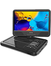 """WONNIE 2019 Upgrade 12.5"""" Portable DVD Player with 10.5 inches 270° Swivel Screen Built-in Rechargeable Battery SD Card and USB, Direct Play in Formats AVI/MP3/JPEG/RMVB (12.5, Black)"""