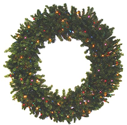 darice 36 pre lit battery operated canadian pine christmas wreath multi led lights - Pre Lit Battery Operated Christmas Wreath